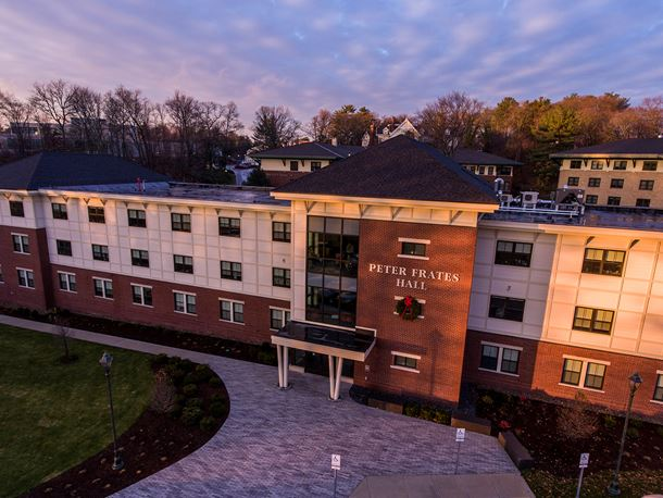 an aerial view of the peter frates hall