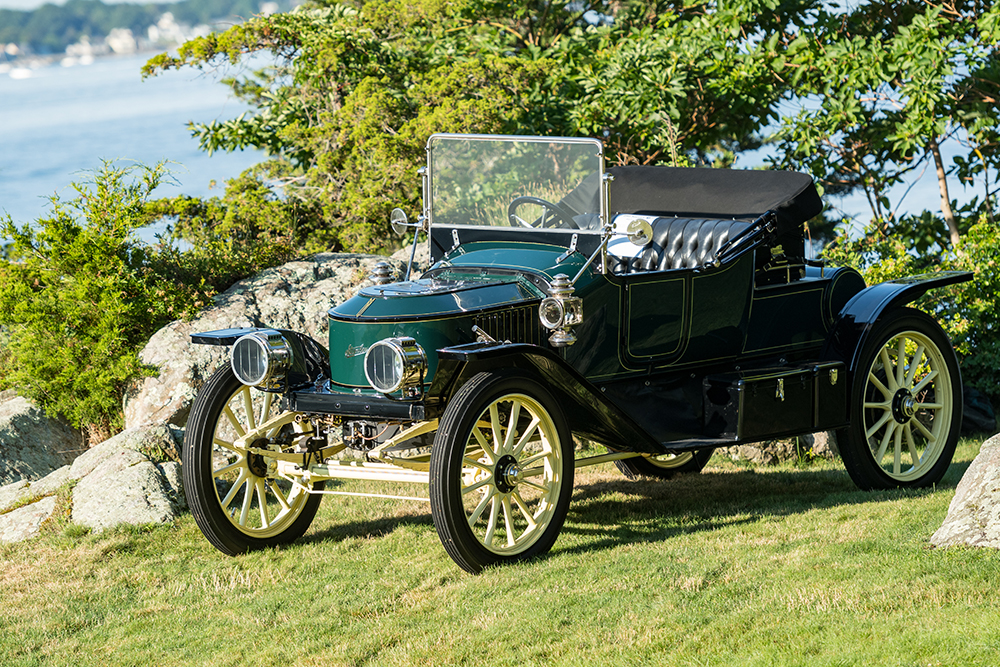 Green car on display at Concours on Misselwood back lawn