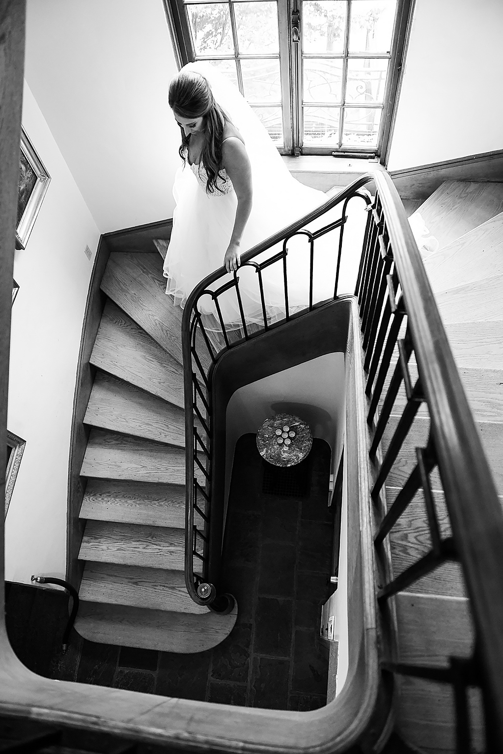 Bride on Misselwood House staircase
