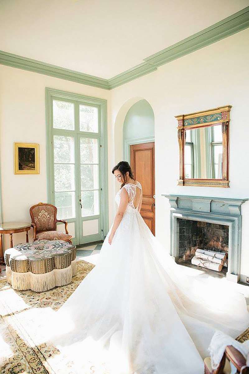 Bride in Wedding gown in Misselwood Ocean Room