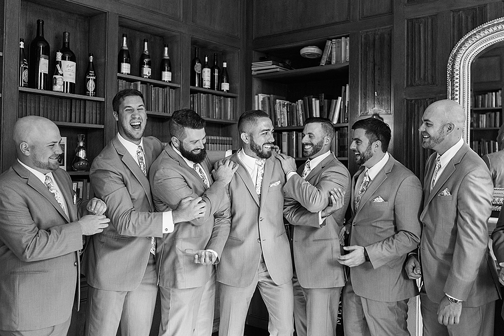 Groom and groomsmen in Misselwood house Library