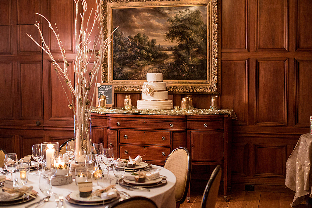 Wedding decor and guest table inside Misselwood house Oak Room