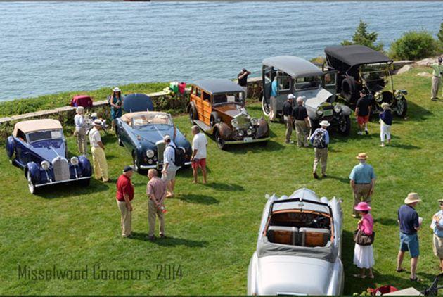 people enjoying an antique automobile show